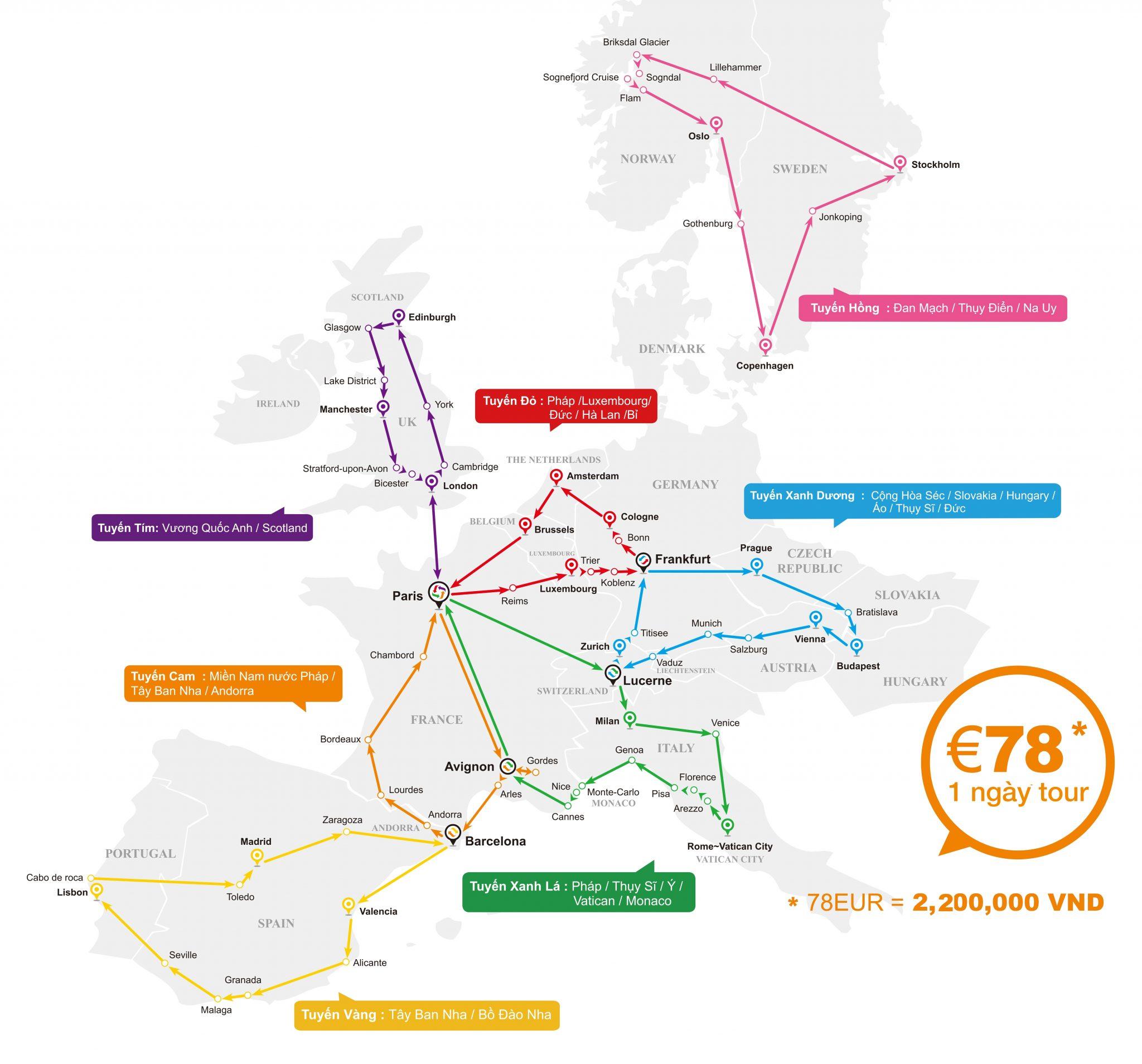 Bản đồ các tuyến du lịch Châu Âu 2018