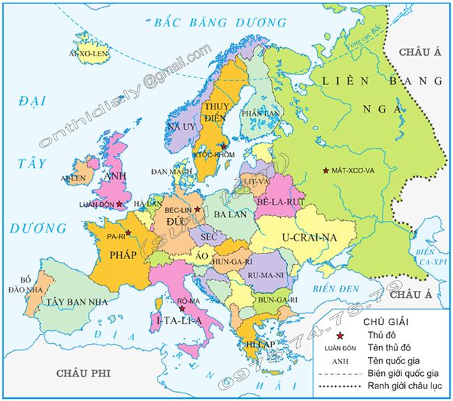 Châu Âu có bao nhiêu nước ? là những nước nào ?