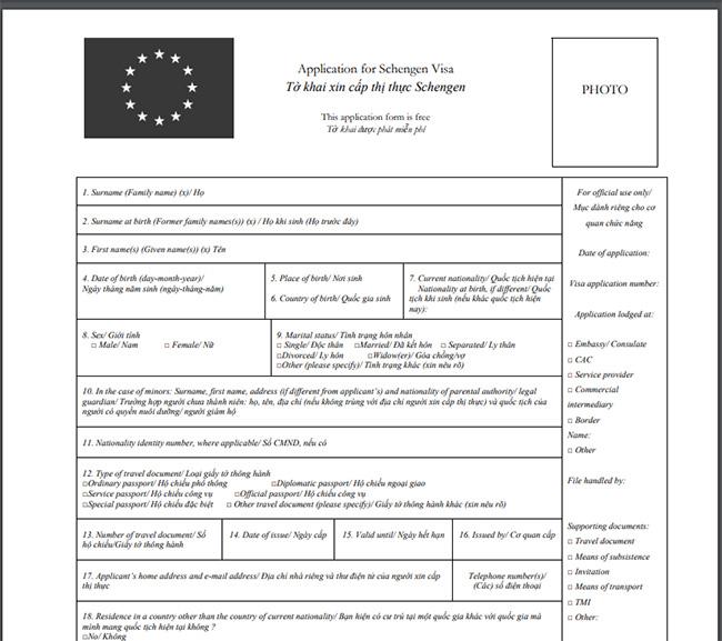 Mẫu đơn xin thị thực (visa) đi du lịch Pháp theo yêu cầu đại sứ quán