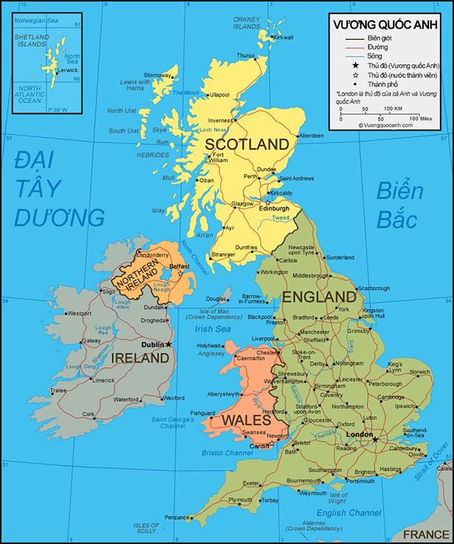 Bản đồ Vương Quốc Anh đầy đủ chi tiết
