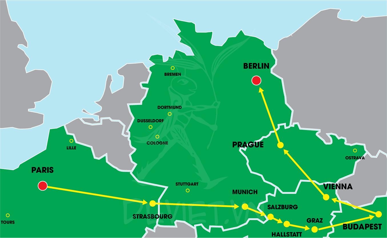 Tour trọn gói 2019 Pháp – Đức – Áo – Hungary – Séc 11 ngày