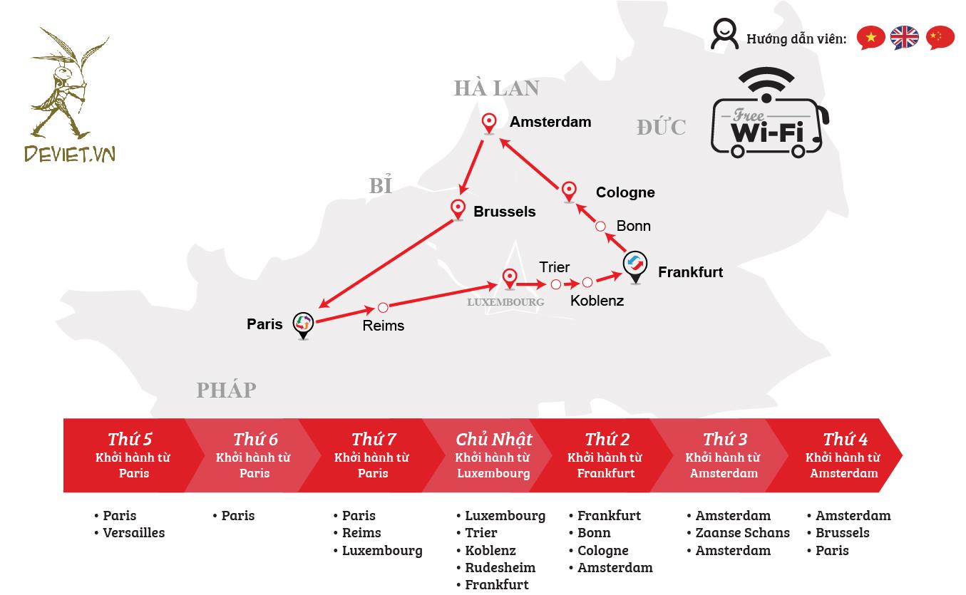 Tour ghép đỏ: Pháp – Luxembourg – Đức – Hà Lan – Bỉ 7 ngày