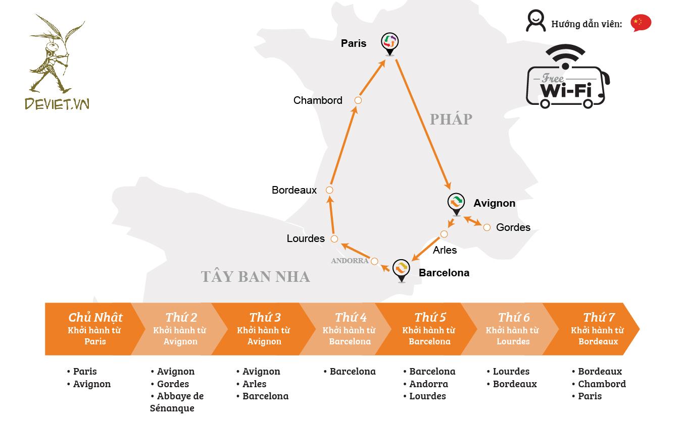 Tour ghép cam: Pháp – Tây Ban Nha – Andorra 7 ngày