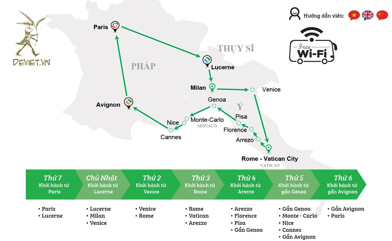 Tour ghép xanh lá: Pháp – Thụy Sỹ – Ý – Vatican – Monaco