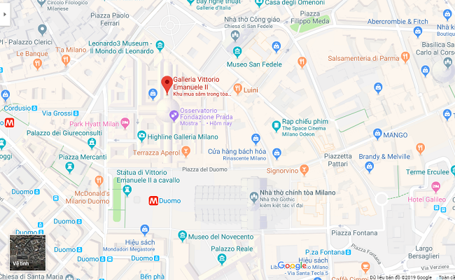 trung tâm mua sắm vittorio emanuele ii nằm ở đâu