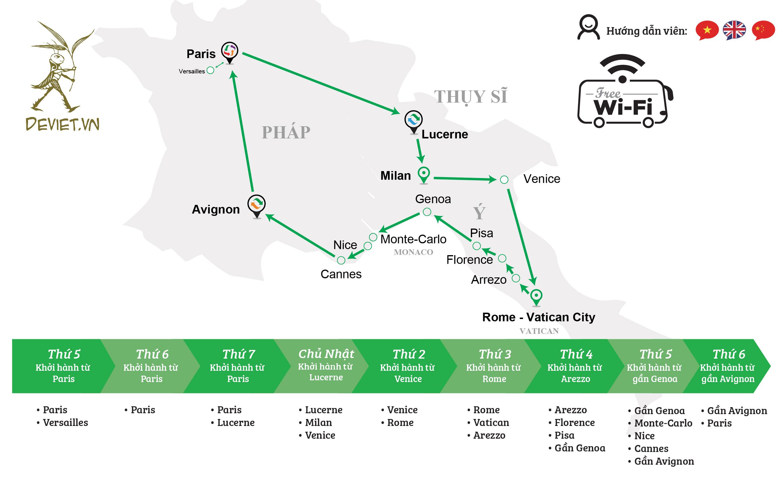 Tour ghép đỏ + xanh lá: Pháp – Thụy Sĩ – Ý – Vatican – Monaco 9 ngày