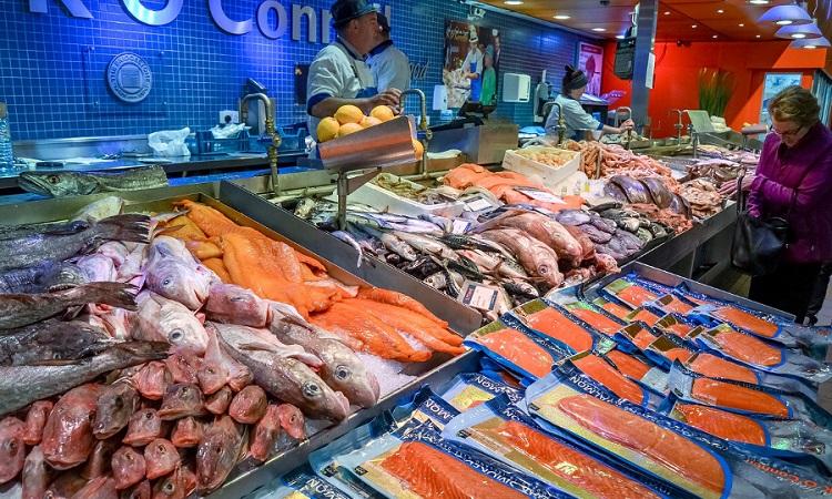 Các quầy bán cá trong chợ