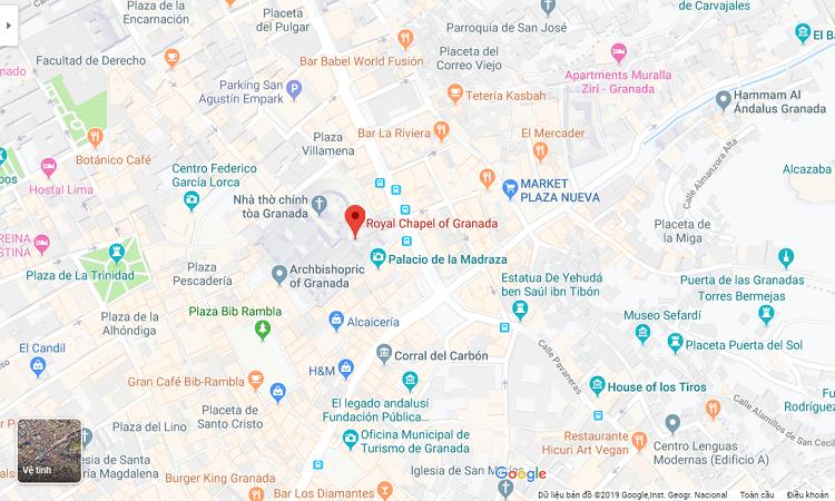 Vị trí Nhà nguyện Capilla Real trên Google maps