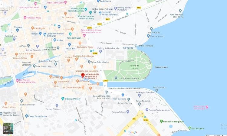Vị trí lâu đài Palais de L'ile trên google maps
