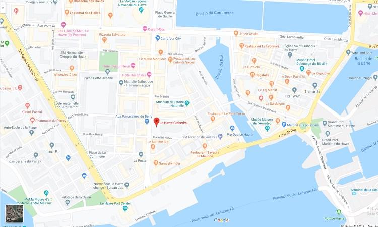 Vị trí nhà thờ Le Havre trên bản đồ trực tuyến