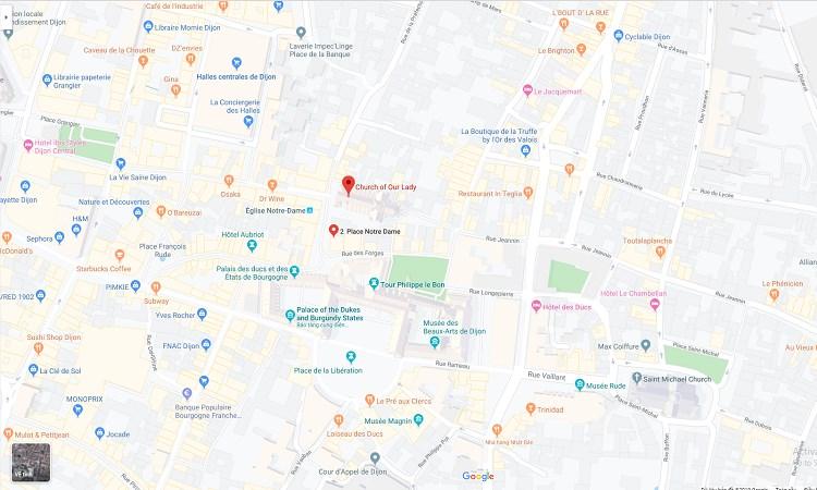 Vị trí nhà thờ Notre Dame trên google maps