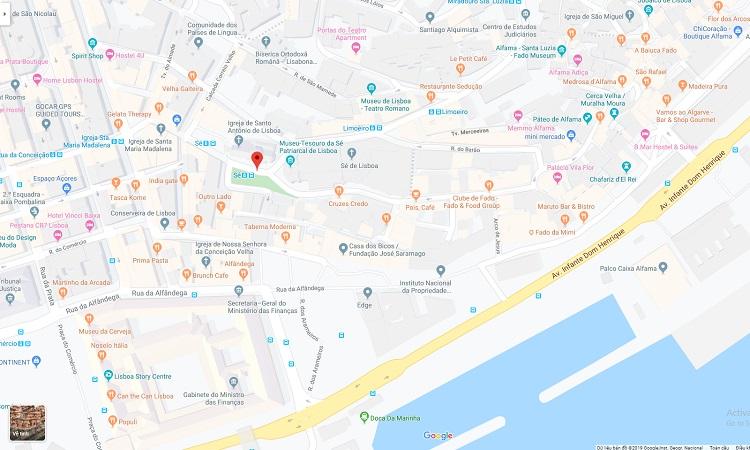 Vị trí nhà thờ Lisbon (Sé) trên Google Maps