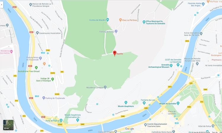 Vị trí pháo đài trên bản đồ trực tuyến