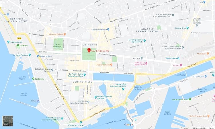 Vị trí Quảng trường Place de l'Hôtel-de-Ville trên Google maps