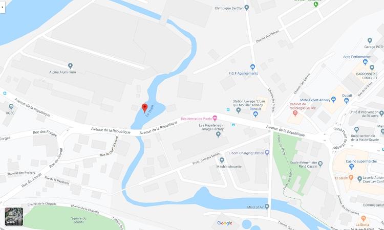 Vị trí sông Thiou trên bản đồ trực tuyến