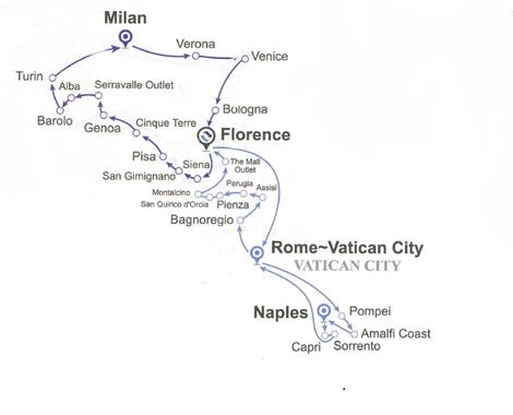 Hành trình Tour ghép Bắc Ý – Nam Ý (14 ngày 13 đêm)