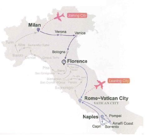 Hành trình Tour ghép BẮC NAM nước Ý (7 ngày 6 đêm)