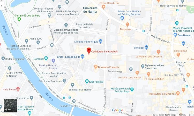 Vị trí nhà thờ Saint Aubain trên bản đồ trực tuyến