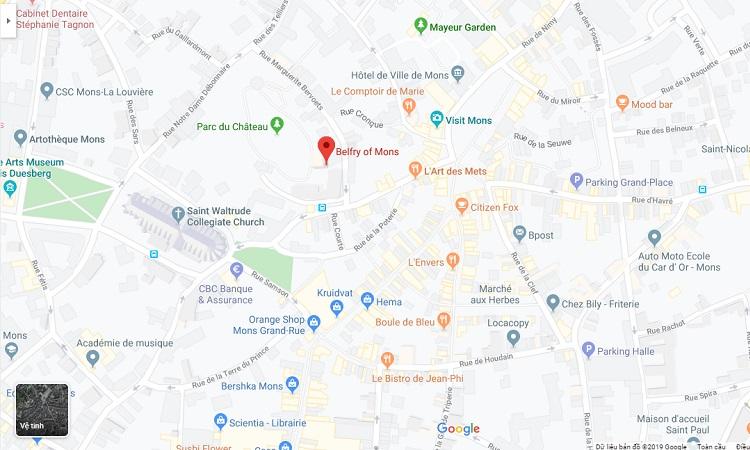 Vị trí tháp chuông Mons trên bản đồ trực tuyến