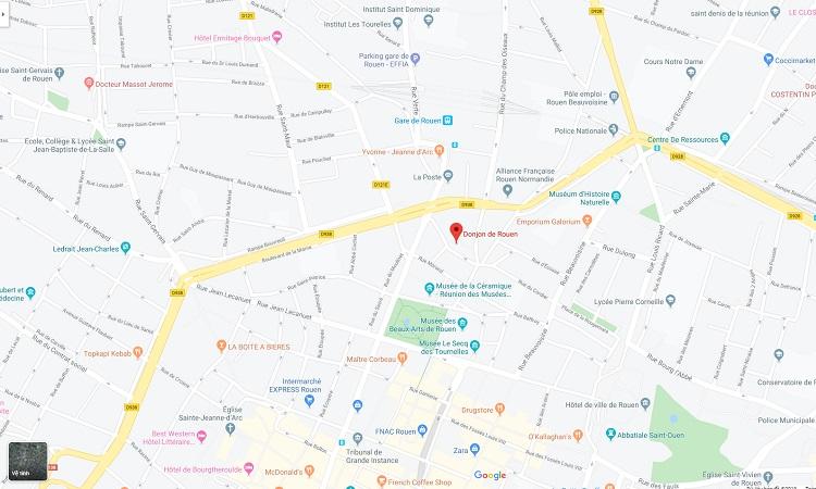 Vị trí tháp Jeanne D Arc trên bản đồ trực tuyến