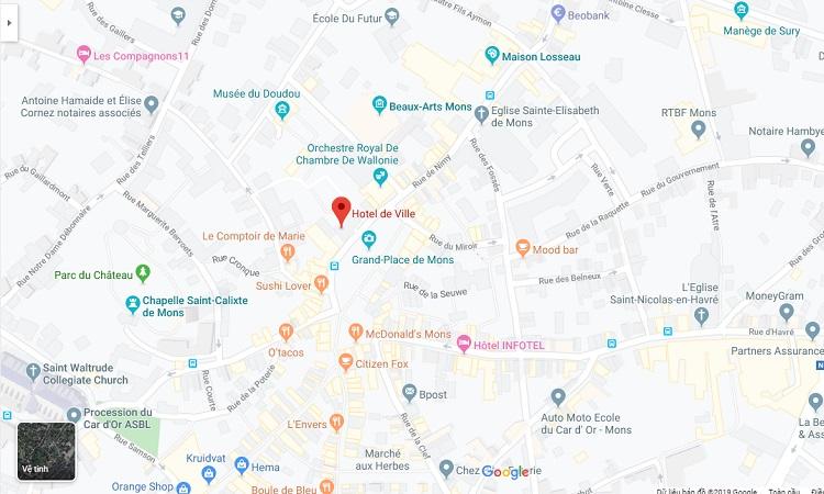Vị trí tòa thị chính trên bản đồ trực tuyến
