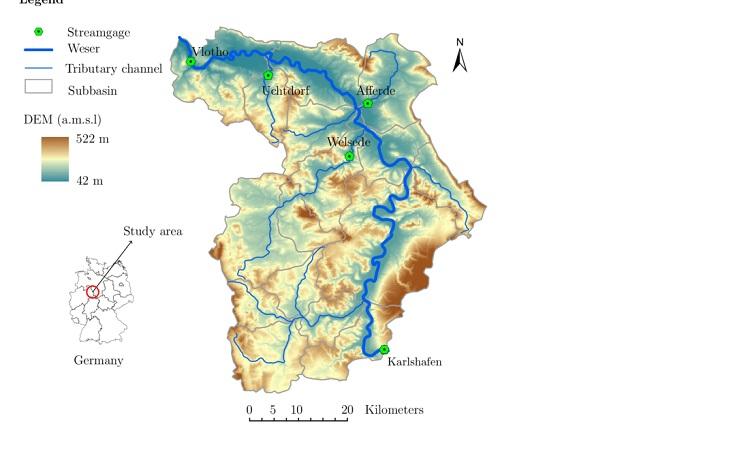 Vị trí dòng Sông Weser trên bản đồ