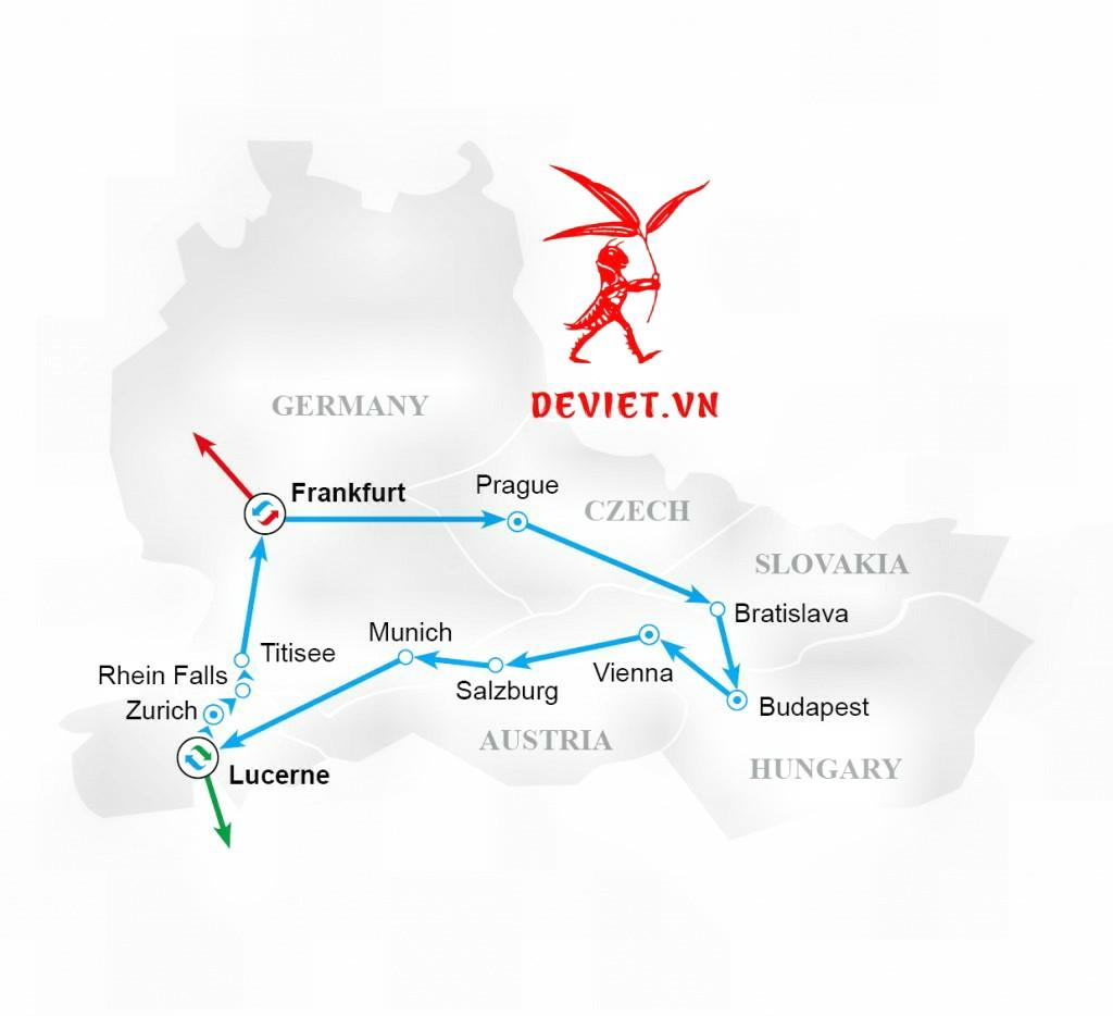 Bản đồ tour du lịch Châu Âu 7 ngày (Đức - Séc - Slovakia - Hungary - Áo - Thụy Sỹ - Đức)