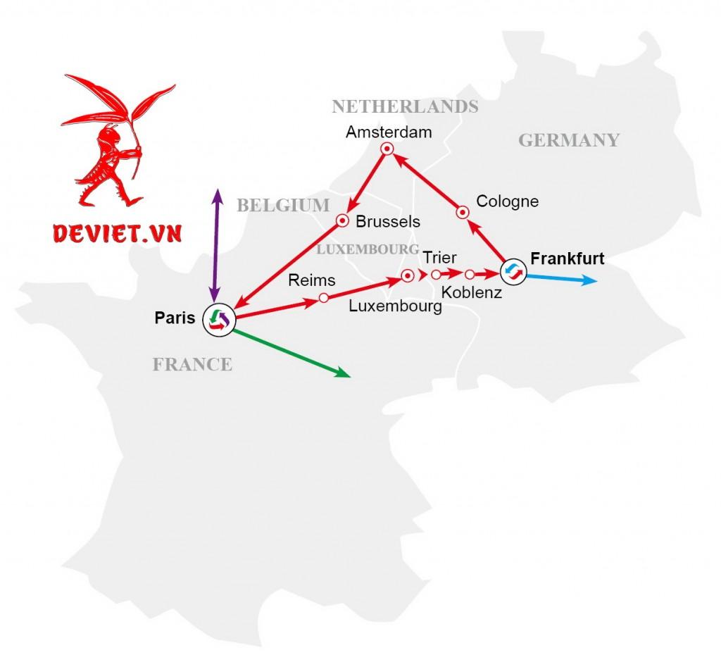 Bản đồ tour du lịch Châu Âu 7 ngày, khởi hành tại Pháp (Pháp - Luxembourg - Đức - Hà Lan - Bỉ - Pháp)