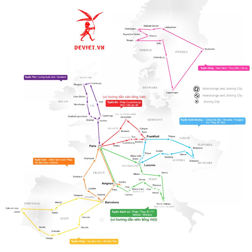 Danh sách các tour ghép mà Dế Việt đang khai thác